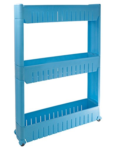 Bestwoohome Plastic Slim Slide Out Storage Tower Kitchen Bathroom Rack with Wheel (Blue) (Storage Tower Baskets compare prices)