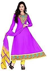 Parinaaz fashion Women's Embroidered Unstitched Anarkali Dress Material (Yellow_Free Size)...