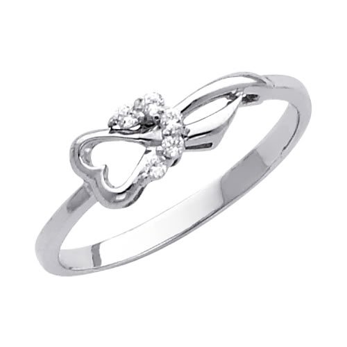 14K White Gold Heart CZ Cubic Zirconia Promise Ring Band - Size 4