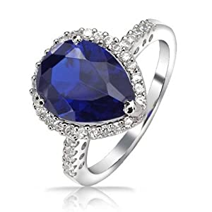 Bling Jewelry Vintage Style 925 Sterling Silver Teardrop Simulated Sapphire Engagement Ring 3ct