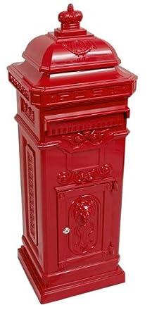 State Mailbox Antique Art Nouveau MOD6 mailbox mail box Aluminum - Red - Column Mailbox - English letterbox