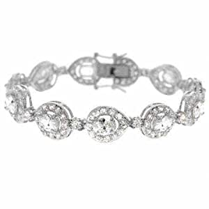 Aristocratic Sterling Silver Simulated Diamond cz Teardrop Tennis Bracelet