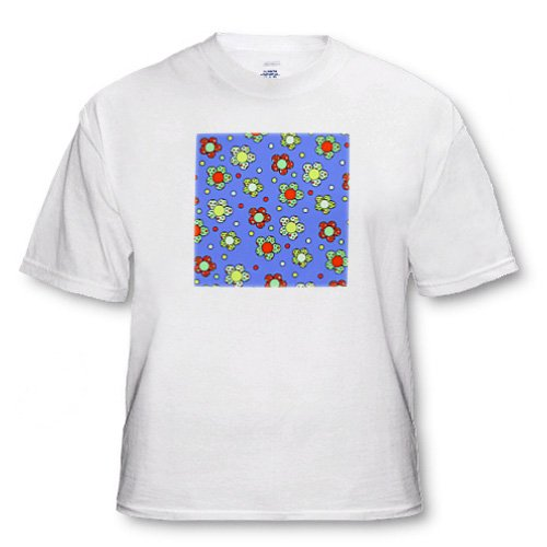 Groovy Flower Retro 70s Print Design Blue Red Green - Adult T-Shirt 3XL