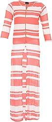 Pahel Creations Women's Synthetic Regular Fit Kurta (White & Pink, Large)