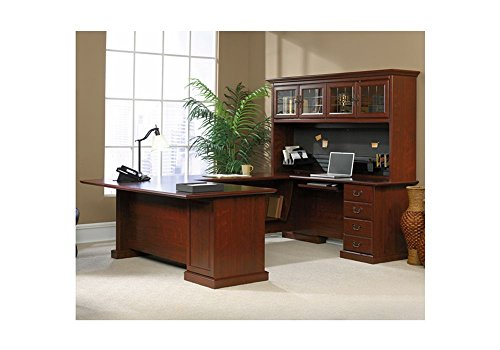 Sauder Office Furniture Heritage Hill Collection Classic Cherry Executive U Desk With Hutch