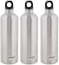 Beaut Stainless Steel Plain Water Bottle, 1000 ml, Pack of 3