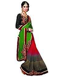 coolwomen women's georgette embroidered free size fancy saree-cw_NMPVA357_black_free size