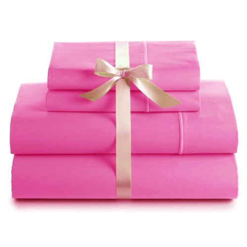 600 Thread Count 100% Cotton Deep Pocket Sheet Set, Queen Size, Hot Pink