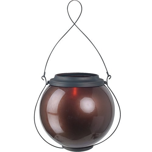 Royce Lighting RLCA5158C-23 Outdoor Portable Candle Lantern with Copper Candle Holder in Oil Rubbed Bronze Finish