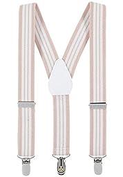 Buyless Fashion Kids Baby Adjustable Elastic Solid 1 inch Suspenders - beigewhitestripe-26