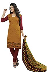 CHINTAN TEXTILES Ethnicwear Women's Dress Material(Yellow_Free Size)