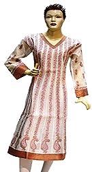 BDS Chikan Off White Chanderi Base Anarkali kurti with Pink & Light Brown Thread Chikan work - BDSD0048