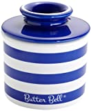 The Original Butter Bell Crock by L. Tremain, Cobalt Blue Striped