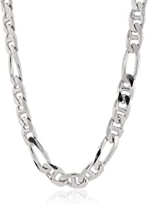 Men's Sterling Silver Italian 10.60 mm Solid Figarucci Link Chain Necklace, 24""