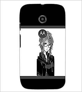 PrintDhaba Girl with Spectacles D-1400 Back Case Cover for MOTOROLA MOTO E2 (Multi-Coloured)