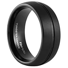 buy King Will 8Mm Black Tungsten Carbide Ring Domed Matte Finish Groove Men'S Wedding Band(7.5)