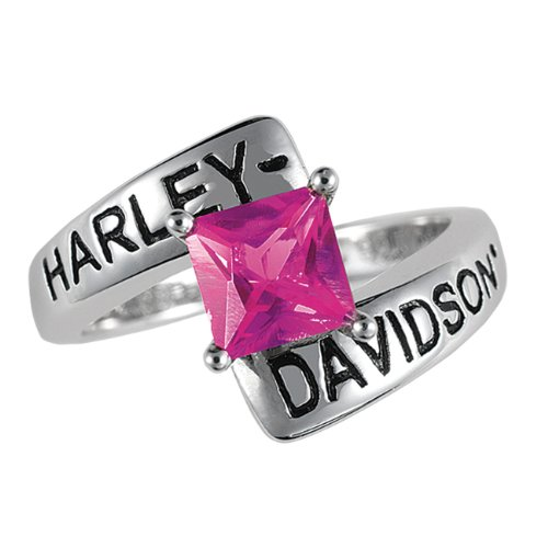 Sterling Silver Harley-Davidson Ladies Crossroads Birthstone Ring - July Faux Ruby
