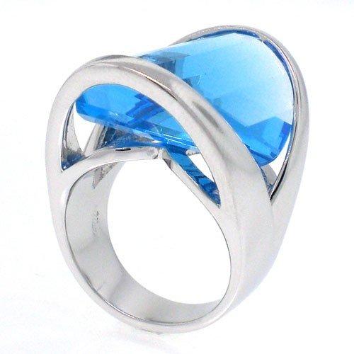 Aerodynamic, Mesmerizing Aquamarine CZ Ring Size 10