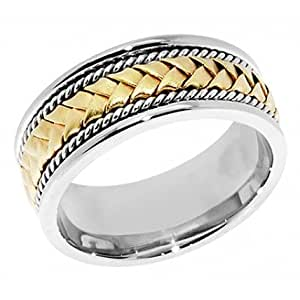 Amazon 14k Two Tone Gold Hand Braided Wedding Band 8mm Jewelry