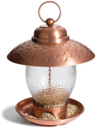 Strathwood Gartenmöbel - Basics Vogelfutterstation, aus Eisen und Ornamentglas, gebürstetes Kupfer-Finish