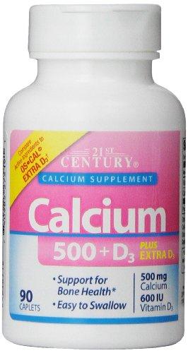 21St Century Calcium Plus Extra D Caplets, 500 Mg, 90 Count (Pack Of 3)