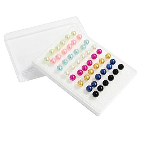 Set di 48 (24 Paia) di orecchini a bottone di metallo color pastello perlati firmato Kurtzy TM.