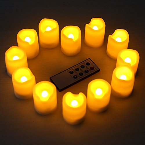 Kohree Set Of 12 Flameless Led Votive Ivory Candles With Remote Control & Timer, Batteries Included, Wavy Edge, Yellow Color