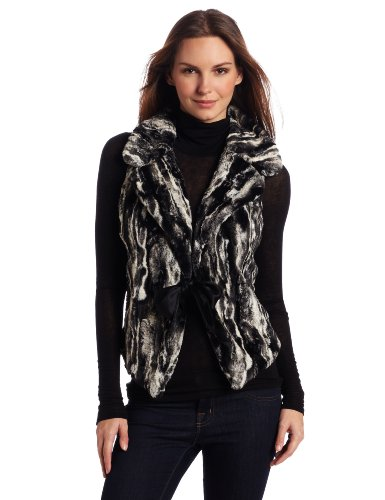 Karen Kane Women's Tie Front Faux Fur Vest
