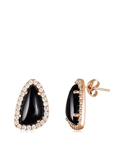 Annabella Lilly 18K Rose Gold-Plated Onyx & CZ Post Earrings