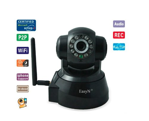 EasyN Wireless WiFi IP Kamera F-M136 Wireless IR LED 2-Audio Nightvision Tilt IP Kamera MAC / Windows / Linux kompatibel Schwarz