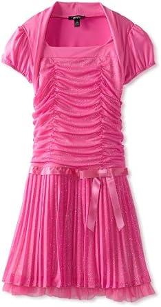 Amy Byer Big Girls' Plus-Size Glitter Pleated Dress, Pink, 14.5