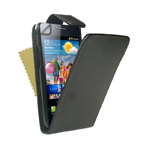 Premium Black Leather Flip Case Cover With Magnetic Close For The Samsung Galaxy S2 I9100 (Not Skyrocket) With Screen Protector Film
