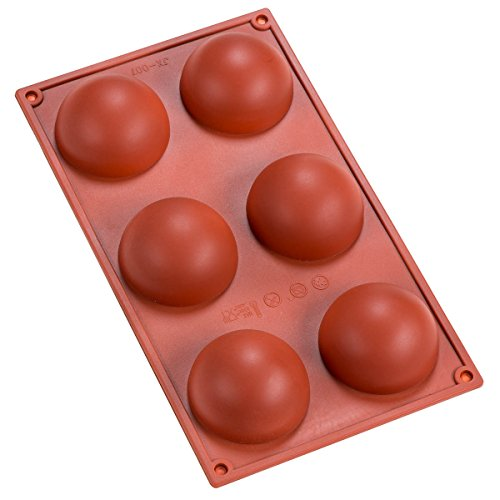 Sorbus 6 Cavity Silicone Half Sphere Mold Pan, Brown