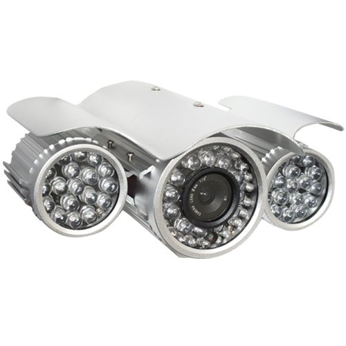 GW Security 540 TV Lines 6mm Lens 1/3 Inch Sony CCD CCTV Waterproof Outdoor IR Security Camera (w/ Mounting Bracket) - 328ft IR Distance, 48 x ¢8 + 24 x ¢5 pcs IR LEDs