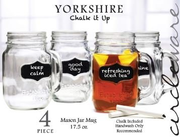 Yorkshire Mason Jar Mugs With Fun Chalkboard And Glass