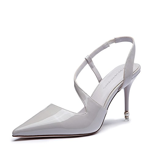 Lady fashion en cuir verni sandales/Creux/Liaisons aériennes/Pointu stiletto/Chaussures à talons hauts/