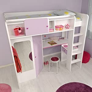 lit mezzanine avec bureau et dressing lola cuisine maison. Black Bedroom Furniture Sets. Home Design Ideas