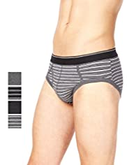 4 Pack Authentic Cool & Fresh™ Stretch Cotton Striped Briefs with Stay New™