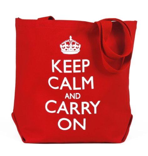 Keep Calm and Carry On Red Canvas Tote Bag