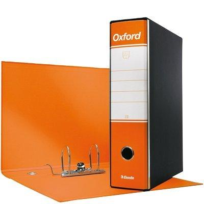Esselte Raccoglitore Oxford con meccanismo a leva e con custodia, Formato Protocollo, Cartone, Dorso 8 cm, Arancione, 390785200