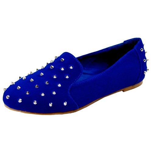 Nature Breeze Leila-11 Ballet Loafers-Shoes, Royal Blue Suede, 6.5
