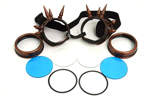 Glass-storecn Copper Cyber Goggles Steam Punk welding Goth Cosplay(blue lens,red brass frame) (Glasses Steam compare prices)