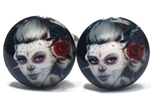 Female Zombie Stainless Steel Stud Earrings