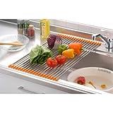 日用品雑貨 生活用品 インテリア 雑貨 キッチン シンク用伸縮スノコ オレンジ