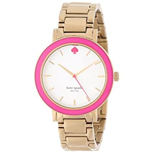kate spade new york Women's 1YRU0253 Pink Enamel Bezel Gramercy Watch