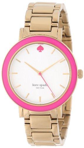 kate spade new york Women's 1YRU0253 Pink Enamel Bezel Gramercy Watch
