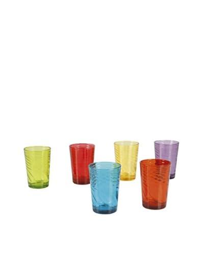 Set de 6 Vasos en 6 Colores Verde, Rojo, Azul, Amarillo, Violeta Y Naranja Multicolor