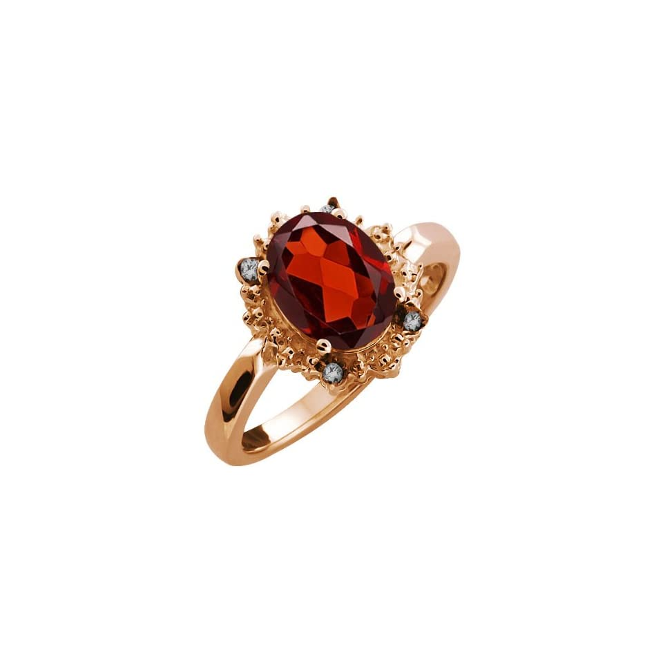 2.02 Ct Oval Red Garnet and Diamond Rose Gold Plated Sterling Silver Ring