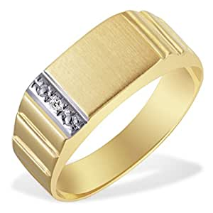 Goldmaid - Hr R2371GG60 - Bague Homme - Or Jaune 9 Cts 375/1000 2.57 Gr - Diamant - T 60 (19.1)