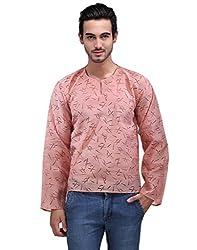 Ausy Full Sleeve Pink Cotton Men's Kurta